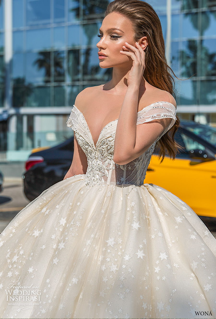 wona 2020 diva bridal off the shoulder sweetheart neckline full embellishment princess ball gown a  lne wedding dress mid back chapel train (4) zv