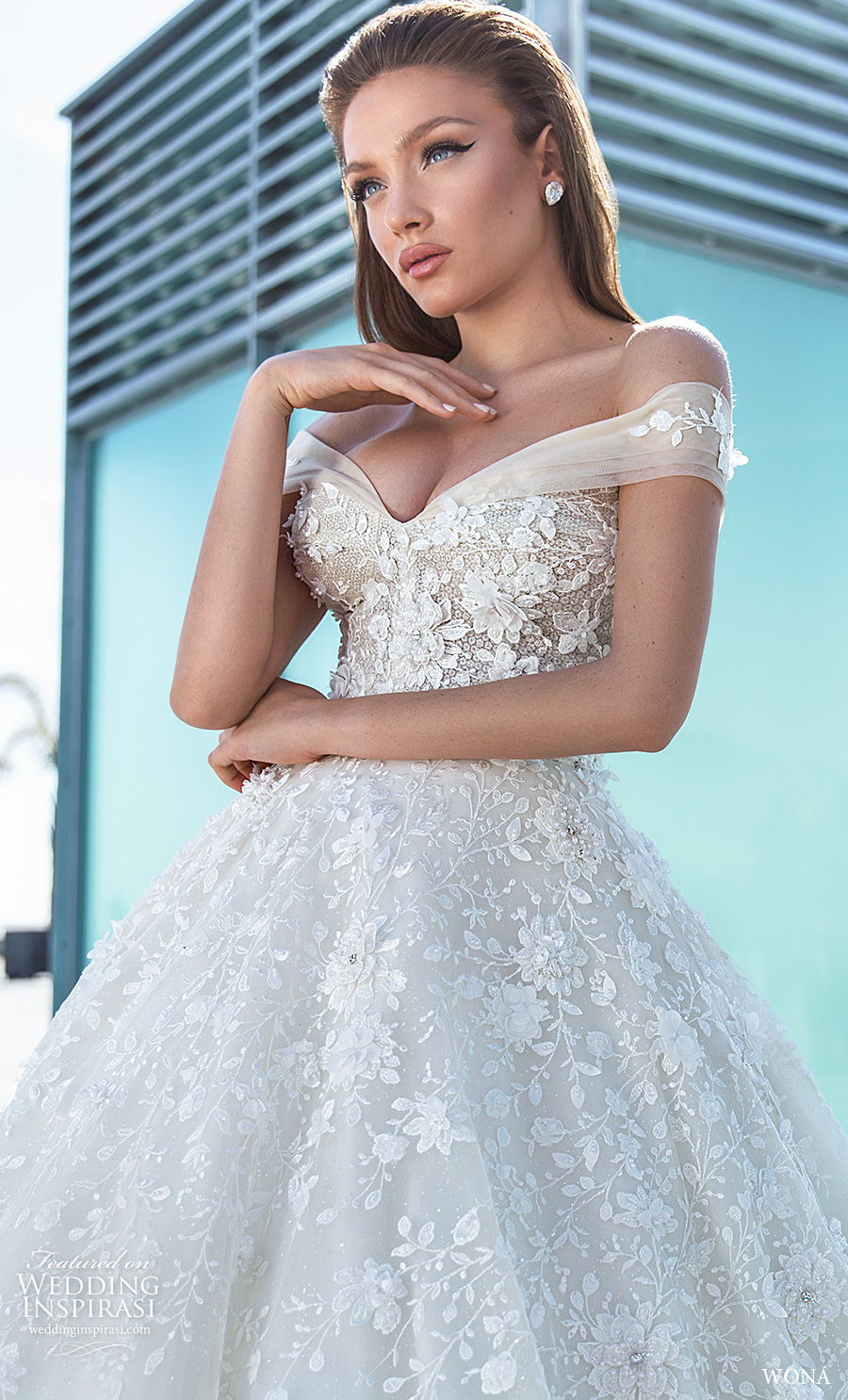 wona 2020 diva bridal off the shoulder v neck heavily embellished bodice romantic ball gown a  line wedding dress mid back royal train (18) zv