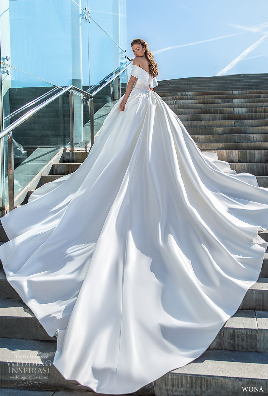 wona 2020 diva bridal off the shoulder v neck simple minimalist princess ball gown a  line wedding dress mid back royal train (16) bv
