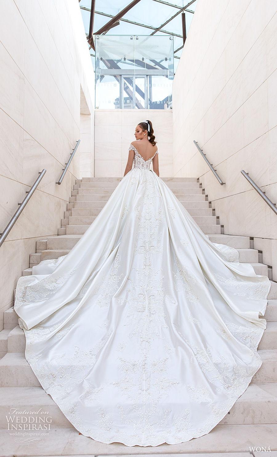 wona 2020 diva bridal short sleeves sweetheart neckline heavily embellished bodice princess ball gown wedding dress v back royal train (13) bv