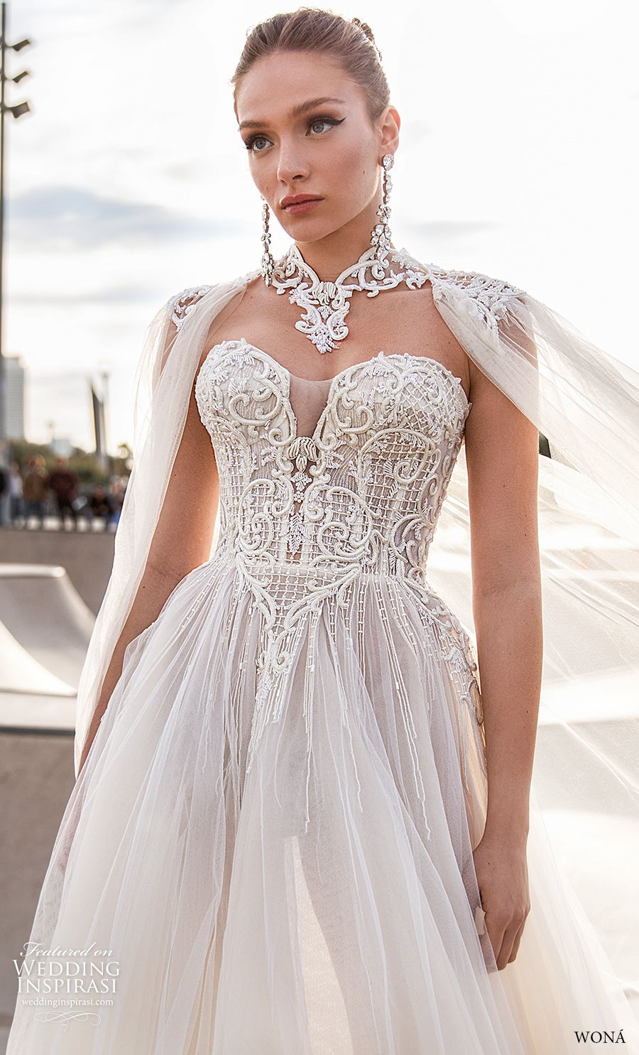 wona 2020 diva bridal strapless sweetheart neckline heavily embellished bodice glamorous soft a  line wedding dress mid back chapel train (21) zv mv