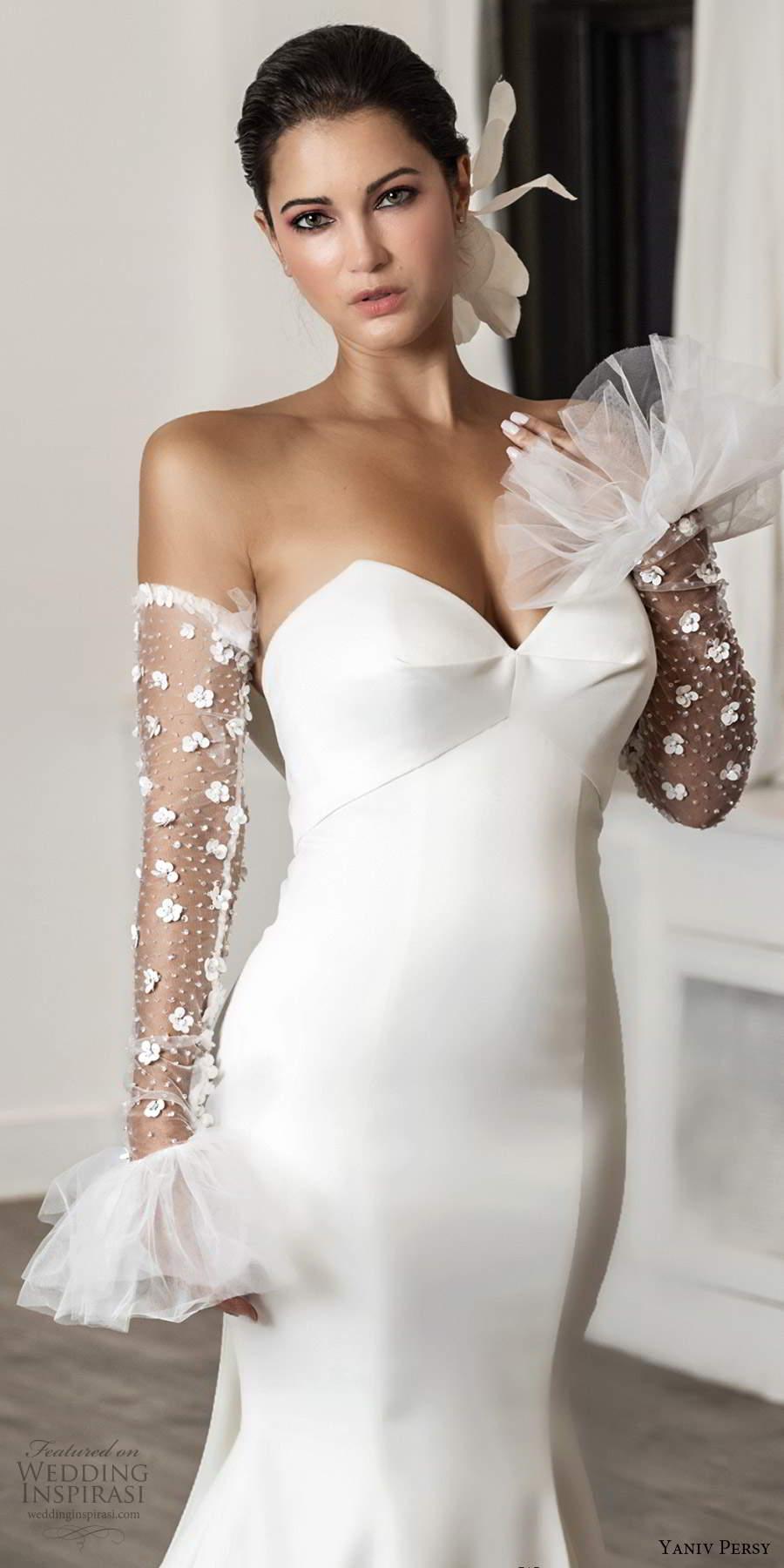 yaniv persy fall 2020 bridal detached sleeves strapless sweetheart neckline clean minimalist sheath wedding dress chapel train (1) mv