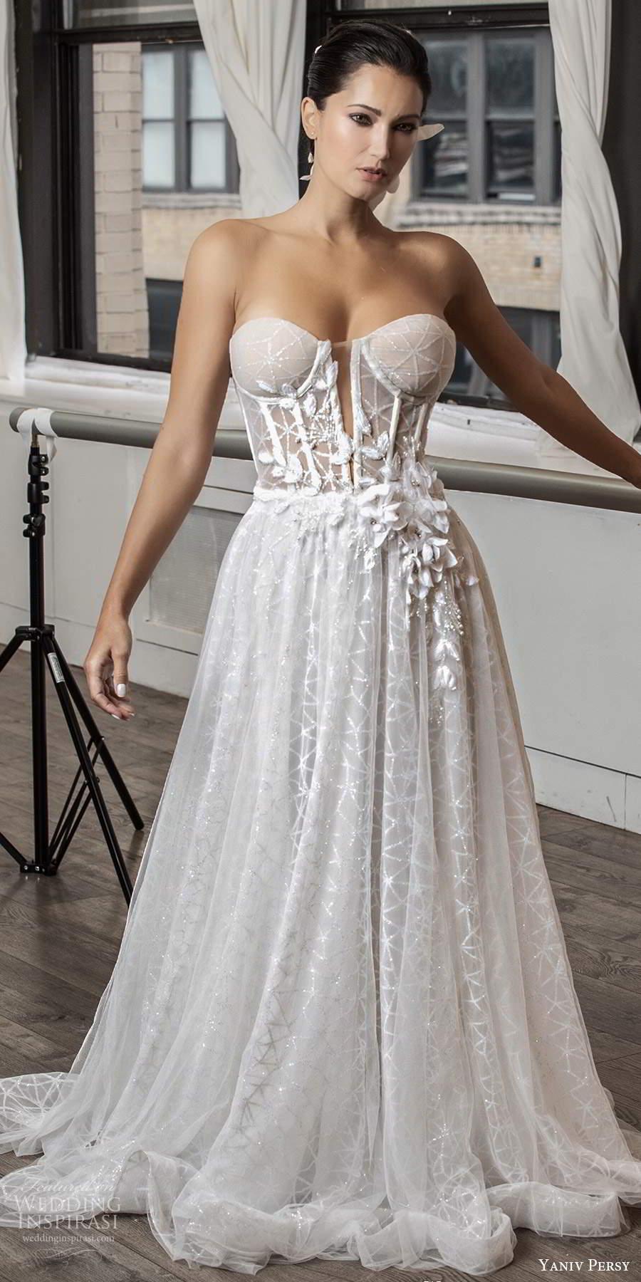 yaniv persy fall 2020 bridal strapless semi sweetheart neckline fully embellished a line ball gown wedding dress chapel train (2) mv