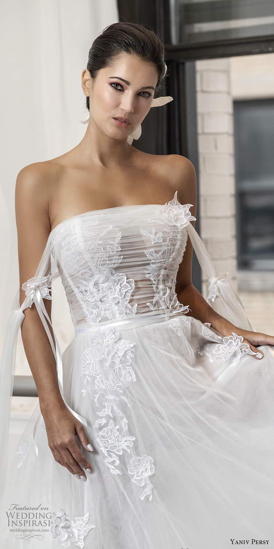 yaniv persy fall 2020 bridal strapless straight across neckline ruched bodice a line ball gown wedding dress (4) mv
