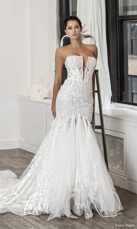 yaniv persy fall 2020 bridal strapless straight across plunging v neckline fully embellished fit flare mermaid wedding dress chapel train (3) mv