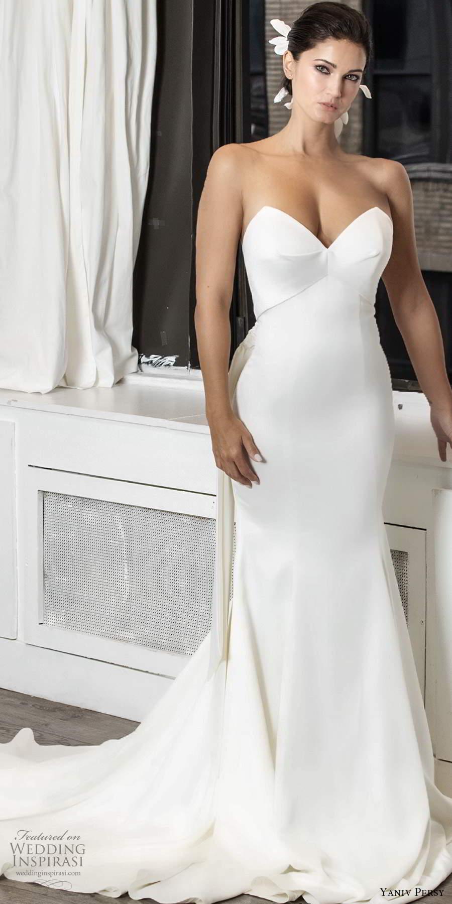 yaniv persy fall 2020 bridal strapless sweetheart neckline clean minimalist sheath wedding dress chapel train (1) mv