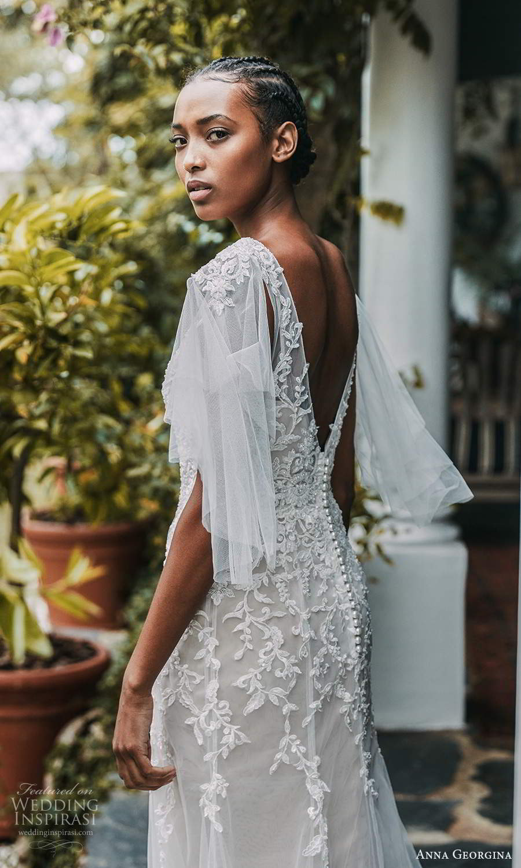 anna georgina 2021 bridal romance elbow length flutter sleeves bateau neckline fully embellished lace fit flare a line wedding dress chapel train (8) bv