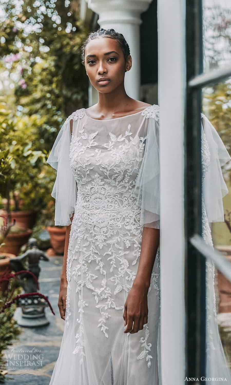 anna georgina 2021 bridal romance elbow length flutter sleeves bateau neckline fully embellished lace fit flare a line wedding dress chapel train (8) mv