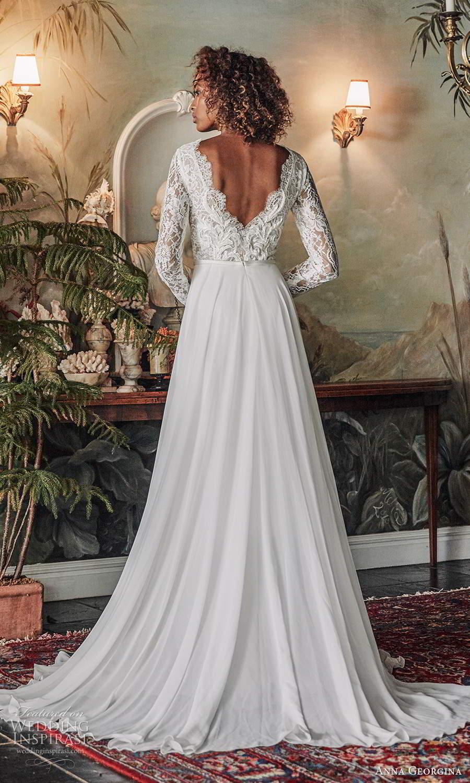 anna georgina 2021 bridal romance long sleeves scallop v neckline embellished lace bodice a line ball gown wedding dress slit skirt v back chapel train (4) bv