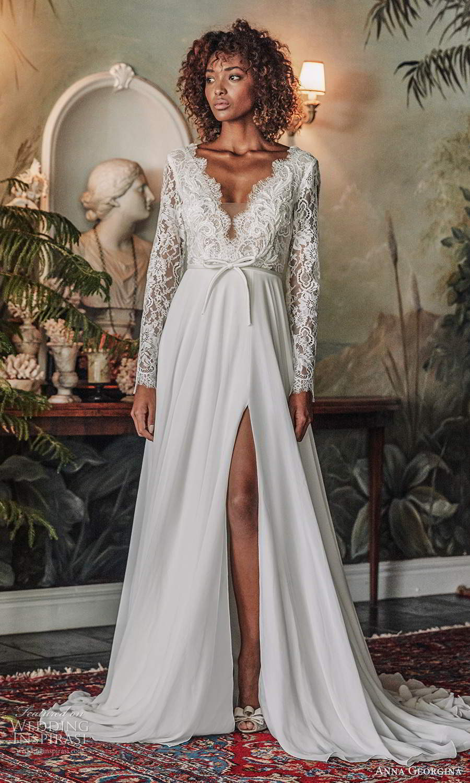 anna georgina 2021 bridal romance long sleeves scallop v neckline embellished lace bodice a line ball gown wedding dress slit skirt v back chapel train (4) mv