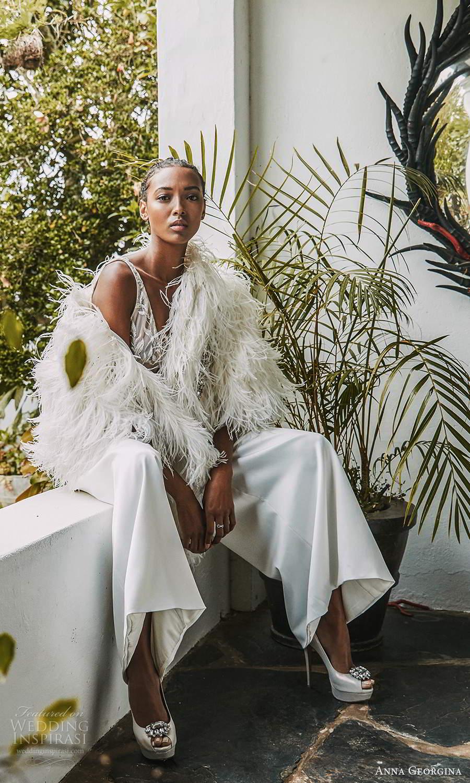 anna georgina 2021 bridal romance sleeveles v neck embellished bodice top pants wedding dress feather shawl (14) mv