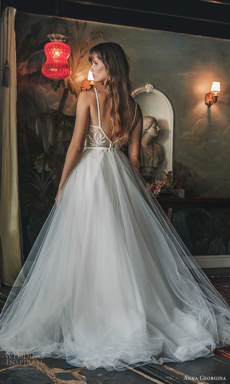 anna georgina 2021 bridal romance sleeveless straps plunging v neckline embellihsed sheer bodice a line ball gown wedding dress chapel train (5) bv