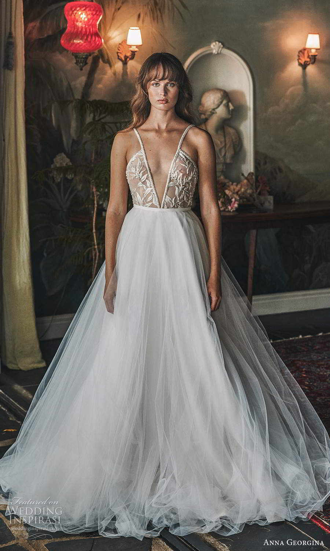 anna georgina 2021 bridal romance sleeveless straps plunging v neckline embellihsed sheer bodice a line ball gown wedding dress chapel train (5) mv