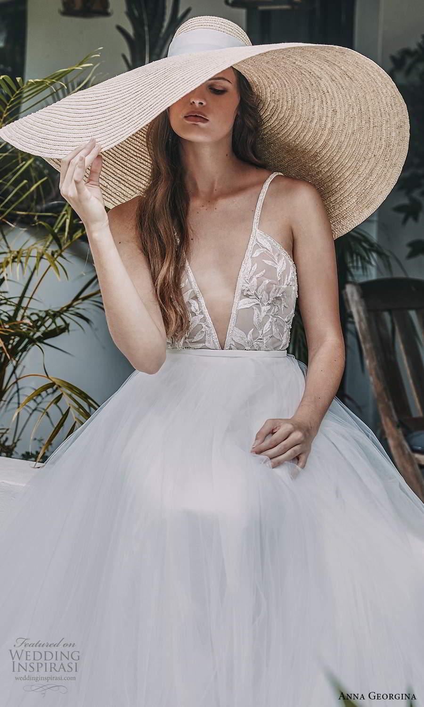 anna georgina 2021 bridal romance sleeveless straps plunging v neckline embellihsed sheer bodice a line ball gown wedding dress chapel train (5) zv