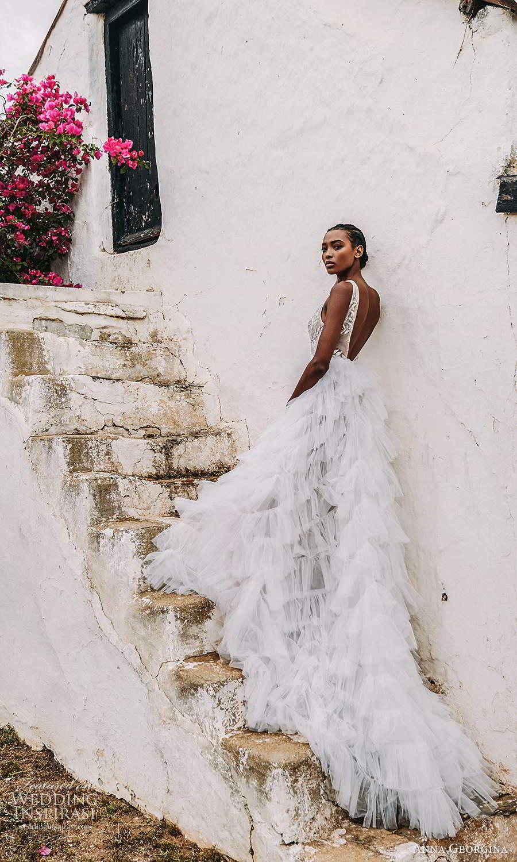 anna georgina 2021 bridal romance sleeveless straps plunging v neckline embellished bodice a line ball gown wedding dress v back ruffle skirt (9) bv