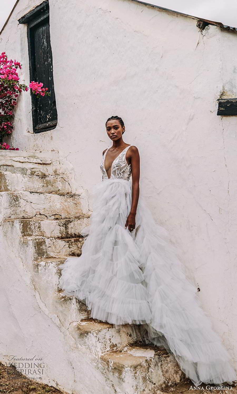 anna georgina 2021 bridal romance sleeveless straps plunging v neckline embellished bodice a line ball gown wedding dress v back ruffle skirt (9) mv