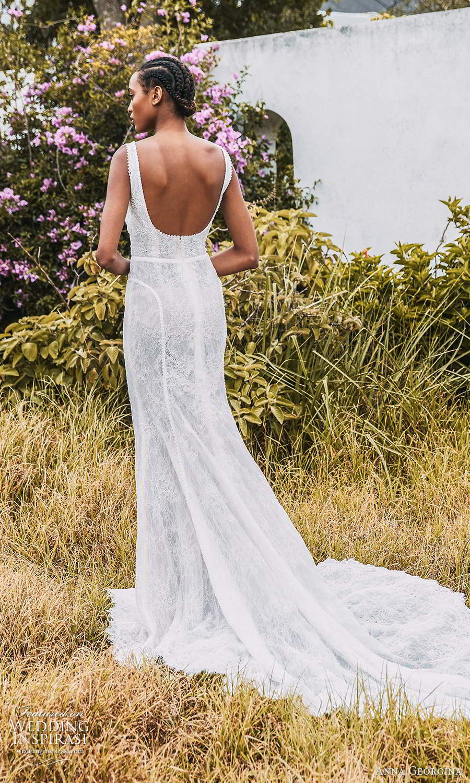anna georgina 2021 bridal romance sleeveless straps scoop square neckline fully embellished fit flare mermaid wedding dress chapel train (13) bv