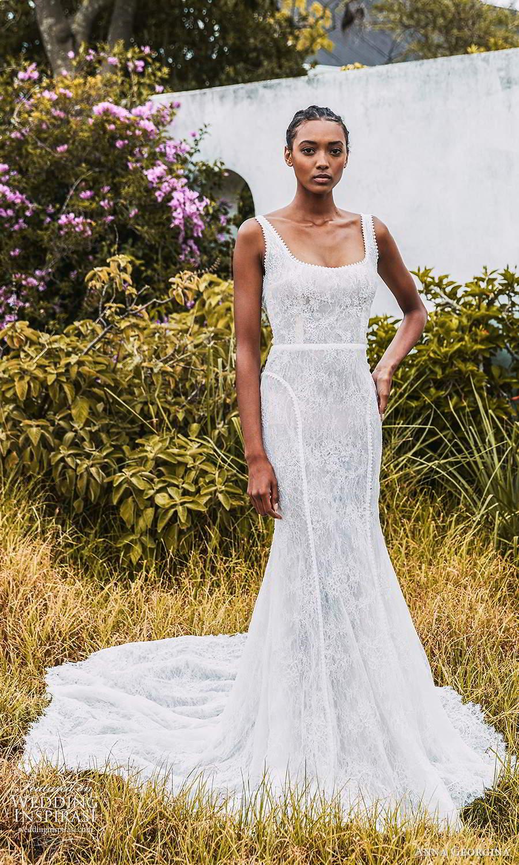 anna georgina 2021 bridal romance sleeveless straps scoop square neckline fully embellished fit flare mermaid wedding dress chapel train (13) mv