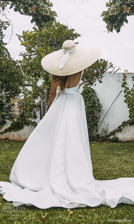 anna georgina 2021 bridal romance sleeveless straps straight across neckline clean minimalist a line ball gown wedding dress chapel train (11) bv
