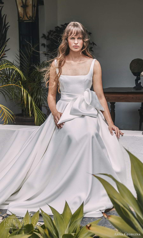 anna georgina 2021 bridal romance sleeveless straps straight across neckline clean minimalist a line ball gown wedding dress chapel train (11) mv