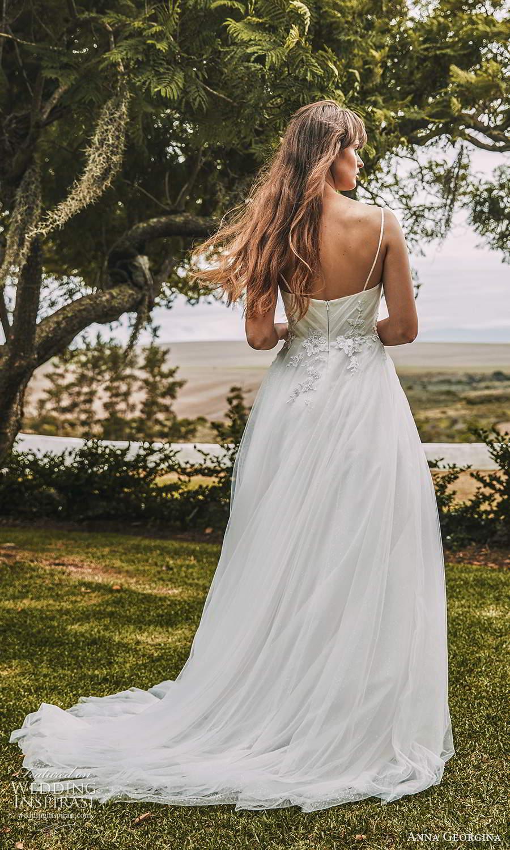 anna georgina 2021 bridal romance sleeveless straps v neckline ruched bodice a line ball gown wedding dress chapel train (12) bv