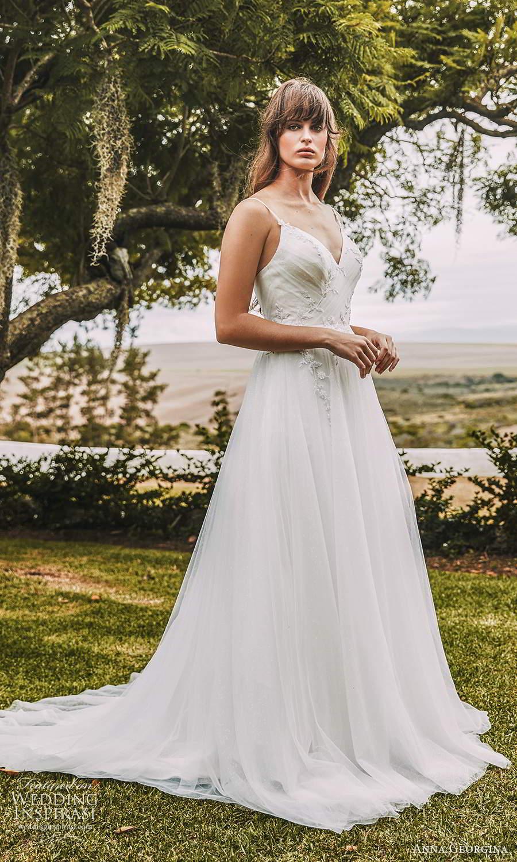 anna georgina 2021 bridal romance sleeveless straps v neckline ruched bodice a line ball gown wedding dress chapel train (12) mv