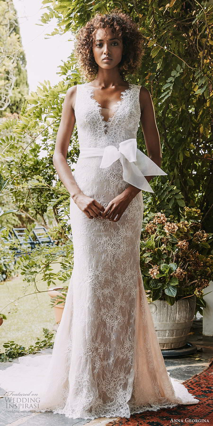 anna georgina 2021 bridal romance sleeveless thick straps v neckline embellished lace sheath wedding dress v back chapel train (6) mv