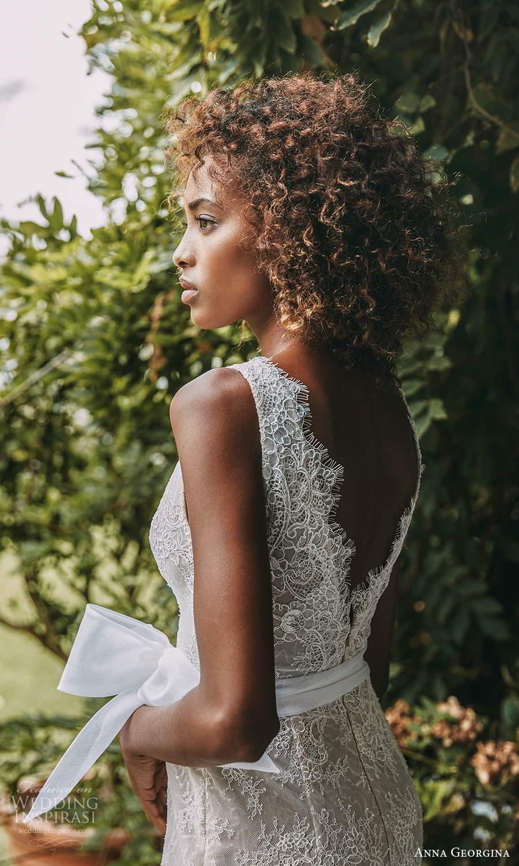 anna georgina 2021 bridal romance sleeveless thick straps v neckline embellished lace sheath wedding dress v back chapel train (6) zbv