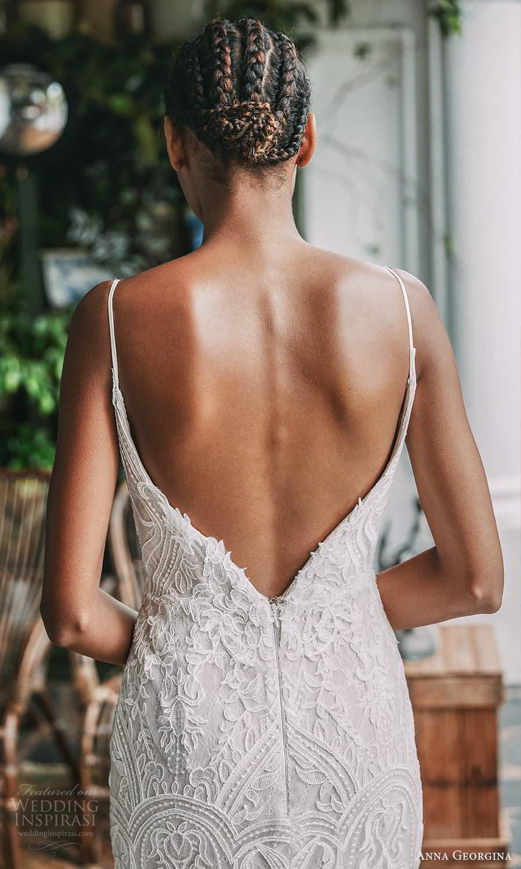 anna georgina 2021 bridal romance sleeveless thin straps fully embellished lace sheath wedding dress chapel train feather shawl (1) bv