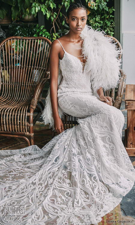 anna georgina 2021 bridal romance sleeveless thin straps fully embellished lace sheath wedding dress chapel train feather shawl (1) mv