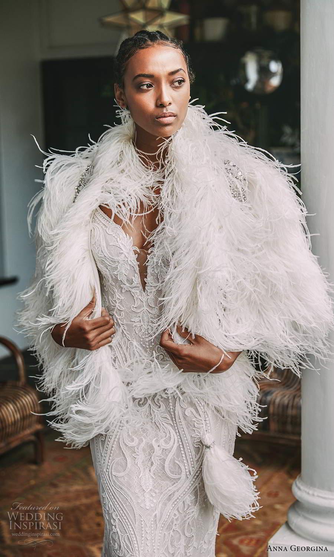 anna georgina 2021 bridal romance sleeveless thin straps fully embellished lace sheath wedding dress chapel train feather shawl (1) zv
