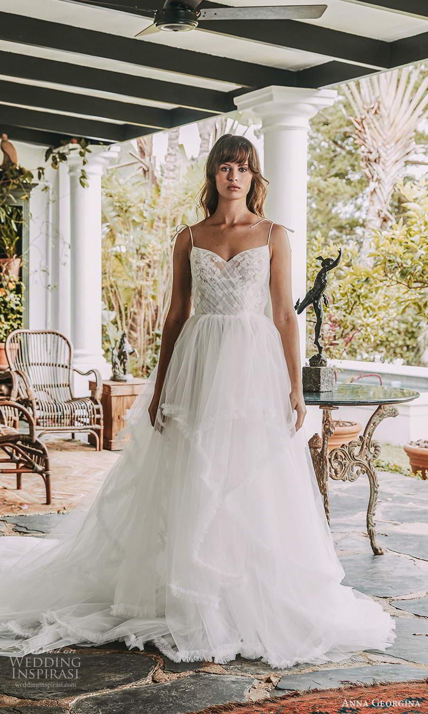 anna georgina 2021 bridal romance sleeveless thin straps semi sweetheart neckline ruched bodice a line ball gown wedding dress tiered skirt chapel train (7) mv