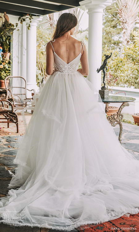 anna georgina 2021 bridal romance sleeveless thin straps semi sweetheart neckline ruched bodice a line ball gown wedding dress tiered skirt v back chapel train (7) bv