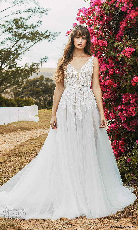 anna georgina 2021 bridal romance sleeveless v neckline embellished lace bodice a line ball gown wedding dress chapel train (15) mv