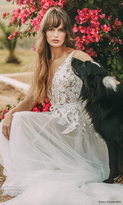 anna georgina 2021 bridal romance sleeveless v neckline embellished lace bodice a line ball gown wedding dress chapel train (15) zv