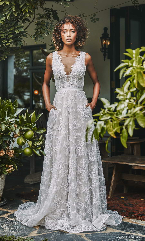 anna georgina 2021 bridal romance sleevless straps scallop v neckline fully embellished lace a line ball gown wedding dress (10) mv