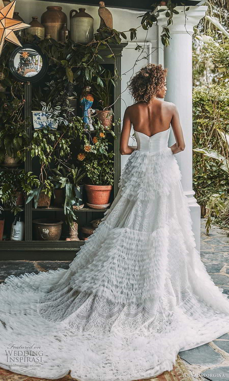 anna georgina 2021 bridal romance strapless sweetheart neckline embellished ruffle skirt a line ball gown wedding dress chapel train (2) bv