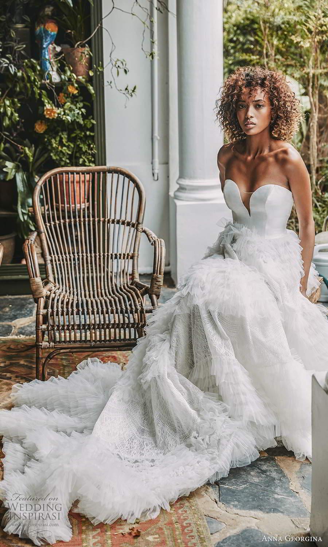 anna georgina 2021 bridal romance strapless sweetheart neckline embellished ruffle skirt a line ball gown wedding dress chapel train (2) fv