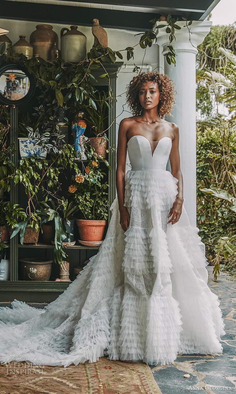 anna georgina 2021 bridal romance strapless sweetheart neckline embellished ruffle skirt a line ball gown wedding dress chapel train (2) mv