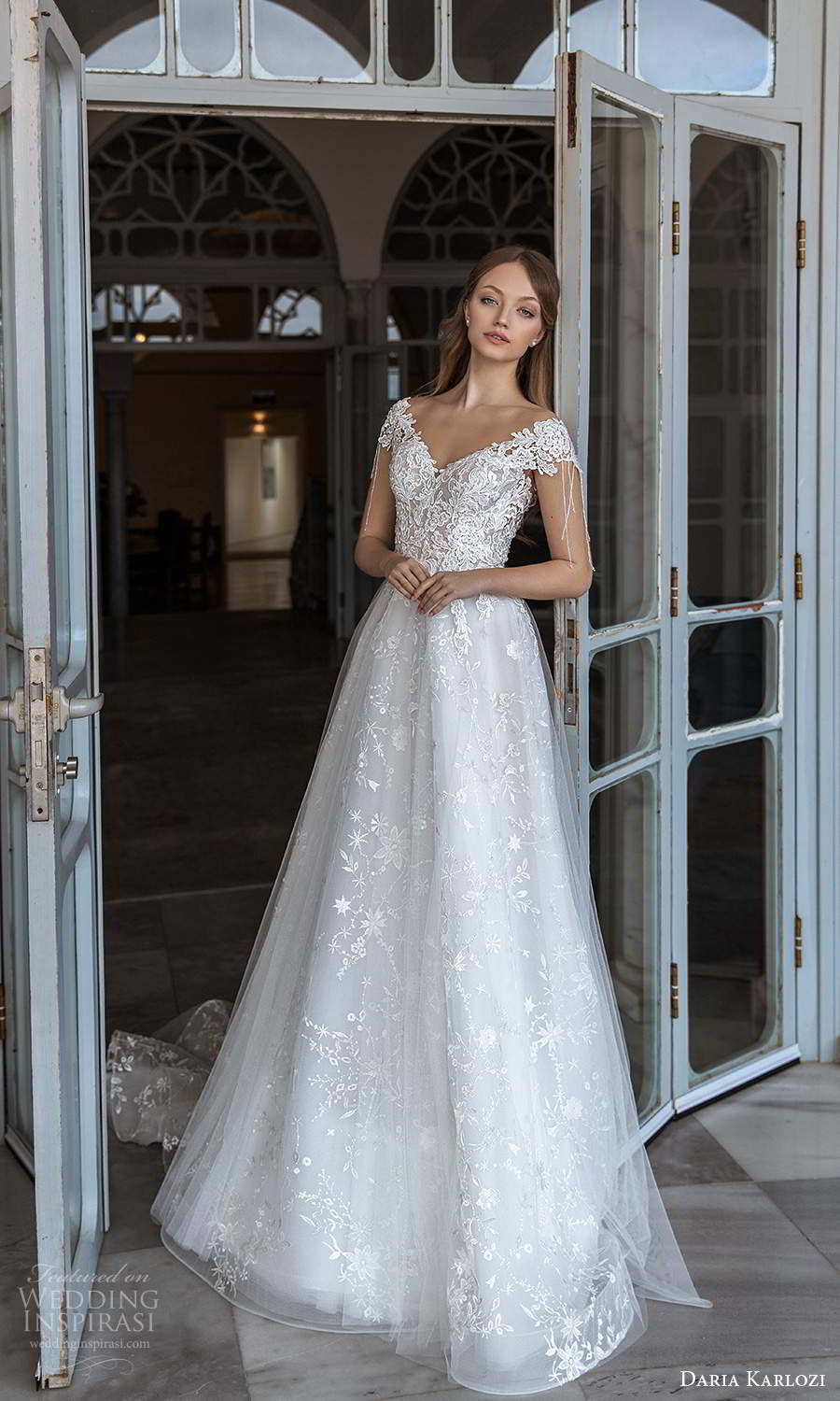 daria karlozi 2021 bridal cap sleeves off shoulder v neckline fully embellished lace a line ball gown wedding dress chapel train (10) mv