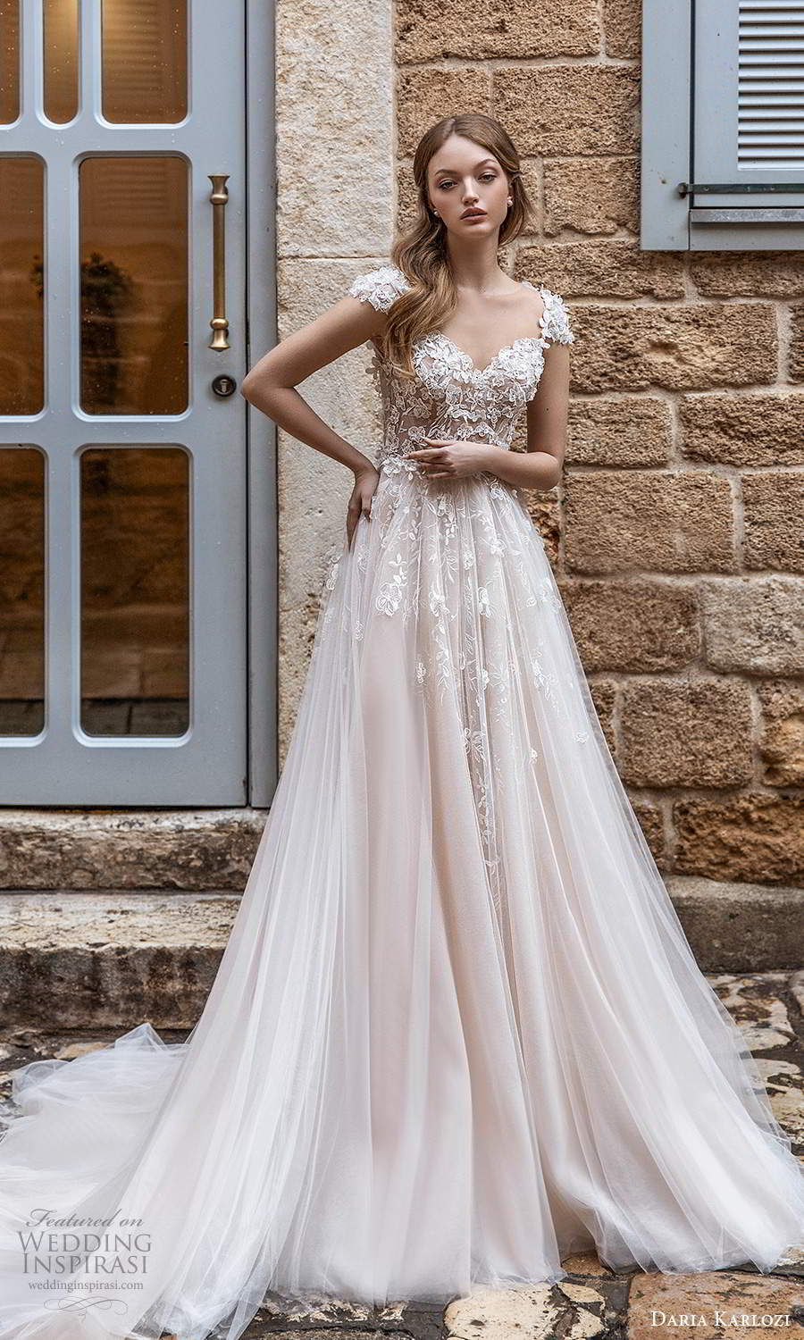 daria karlozi 2021 bridal cap sleeves sweetheart embellished bodice a line ball gown wedding dress chapel train blush color (1) mv