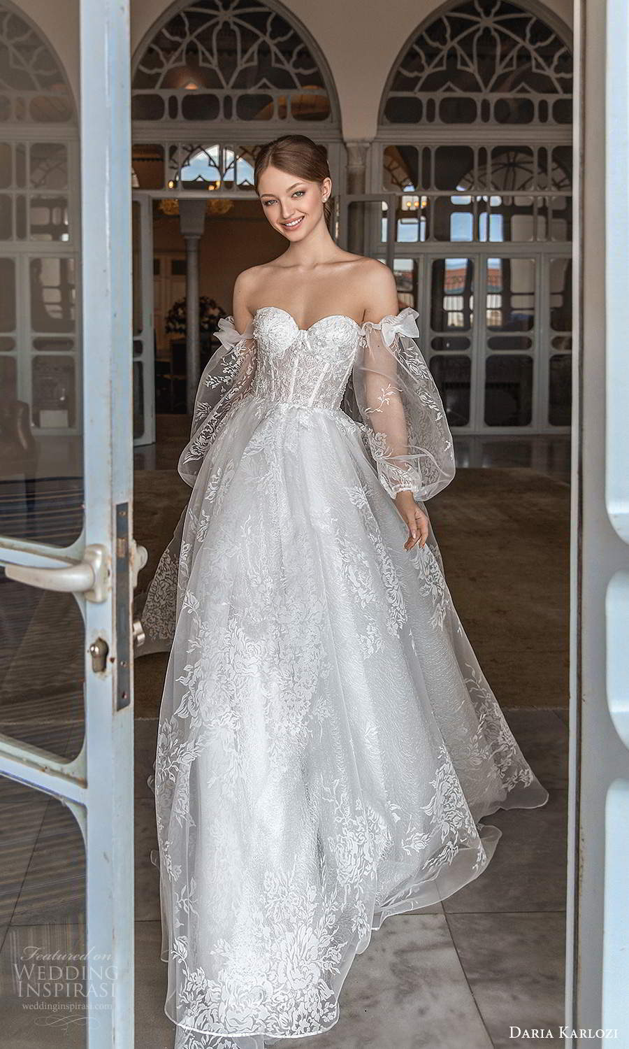 daria karlozi 2021 bridal detached sheer bishop sleeves strapless sweetheart embellished lace a line ball gown wedding dress chapel train (5) mv