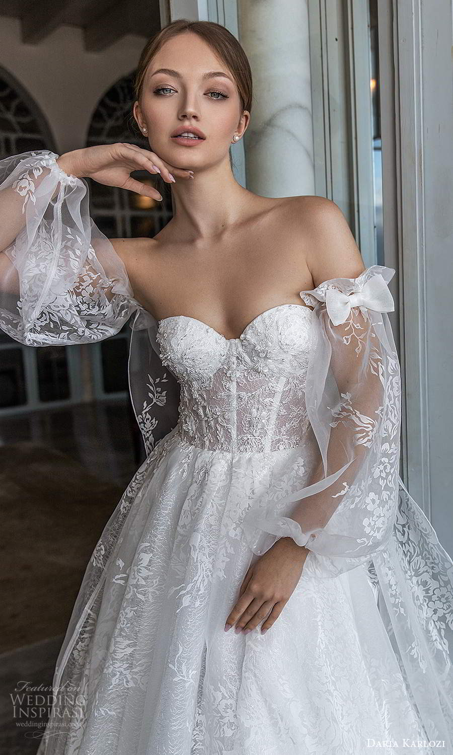 daria karlozi 2021 bridal detached sheer bishop sleeves strapless sweetheart embellished lace a line ball gown wedding dress chapel train (5) zv