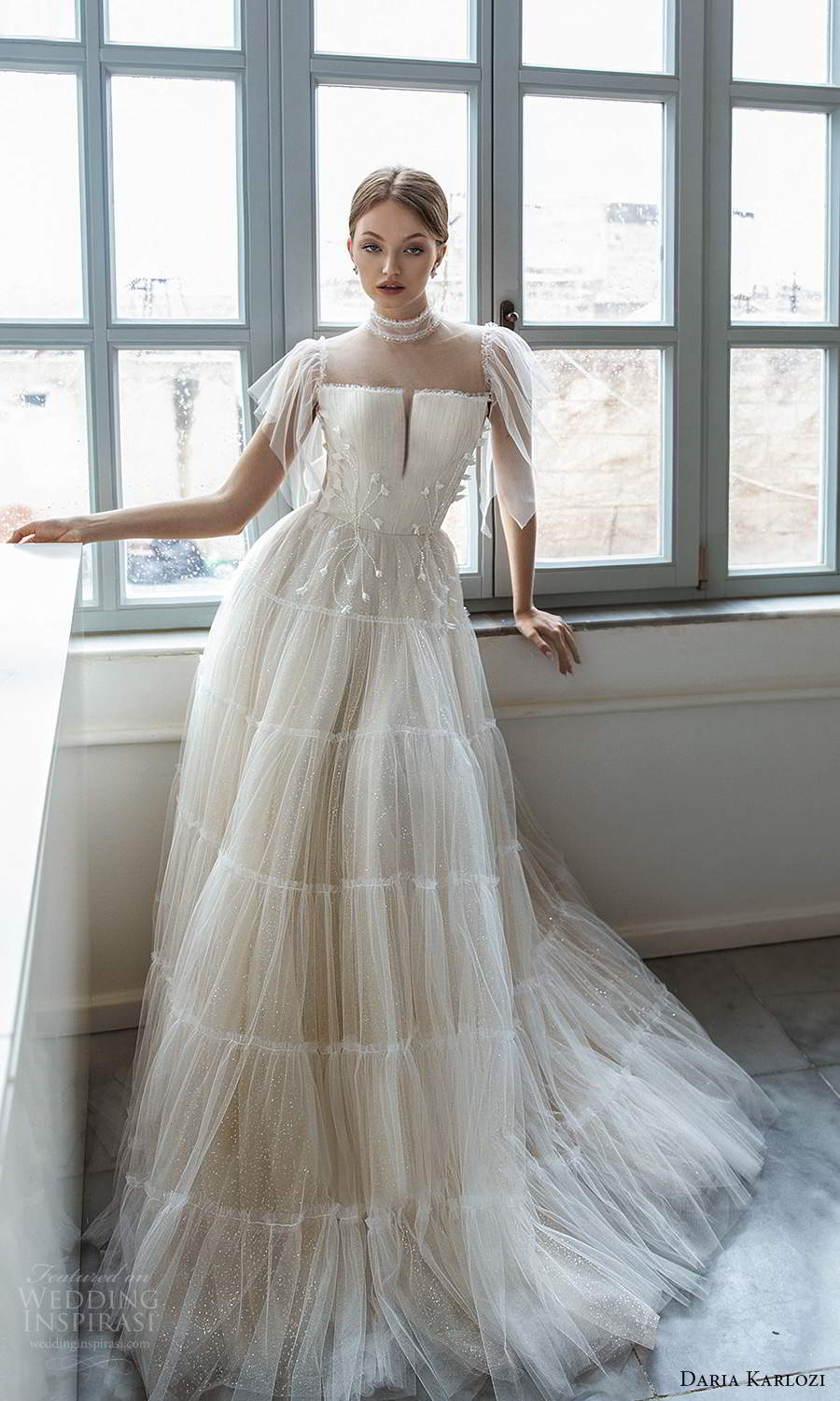 daria karlozi 2021 bridal flutter sleeves sheer high neckline split embellished ruched bodice a line ball gown wedding dress champagne color chapel train (14) mv