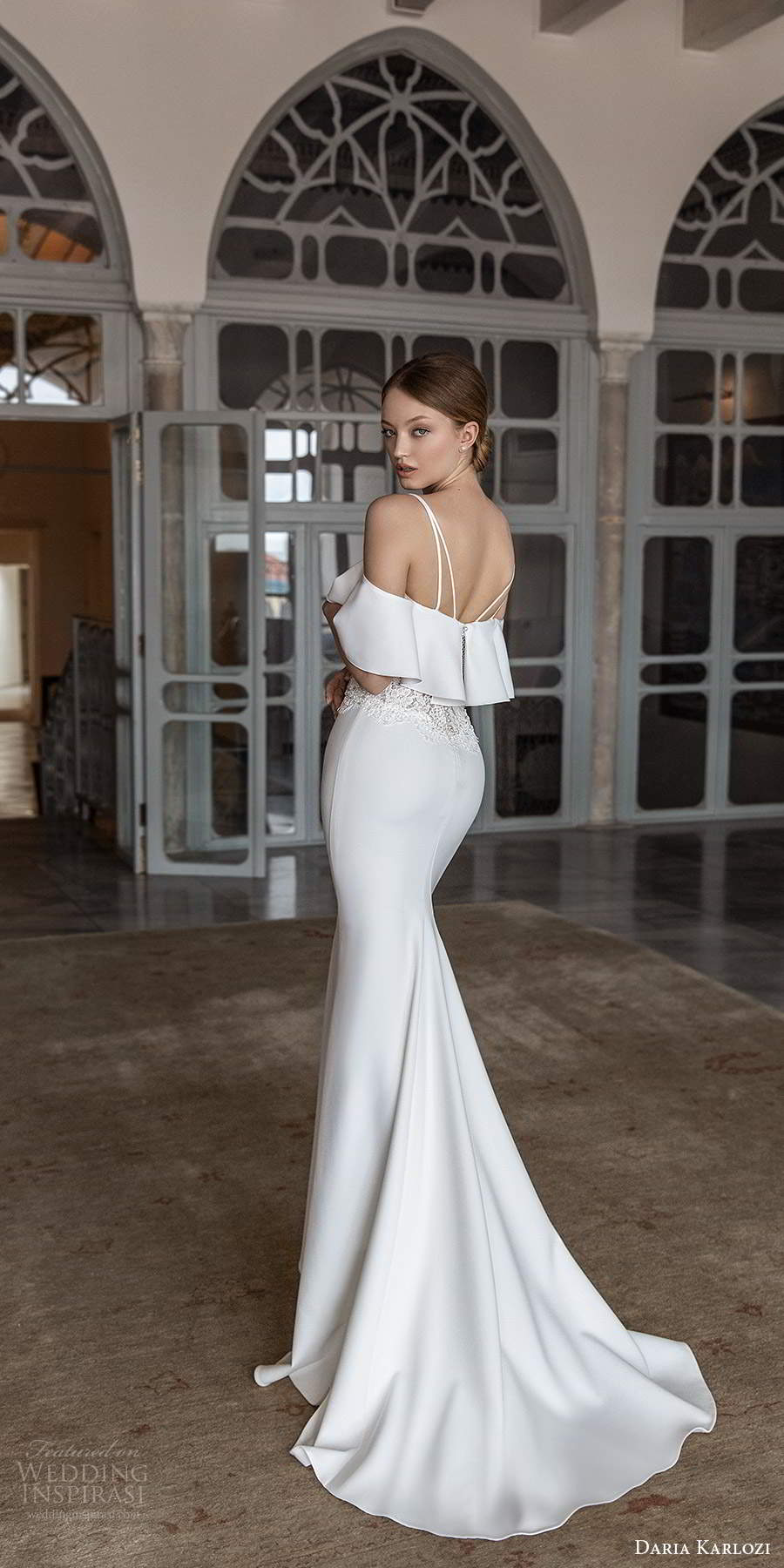daria karlozi 2021 bridal long sleeves cold shoulder thin straps sheer embellished bodice clean minimalist sheath wedding dress chapel train (6) bv