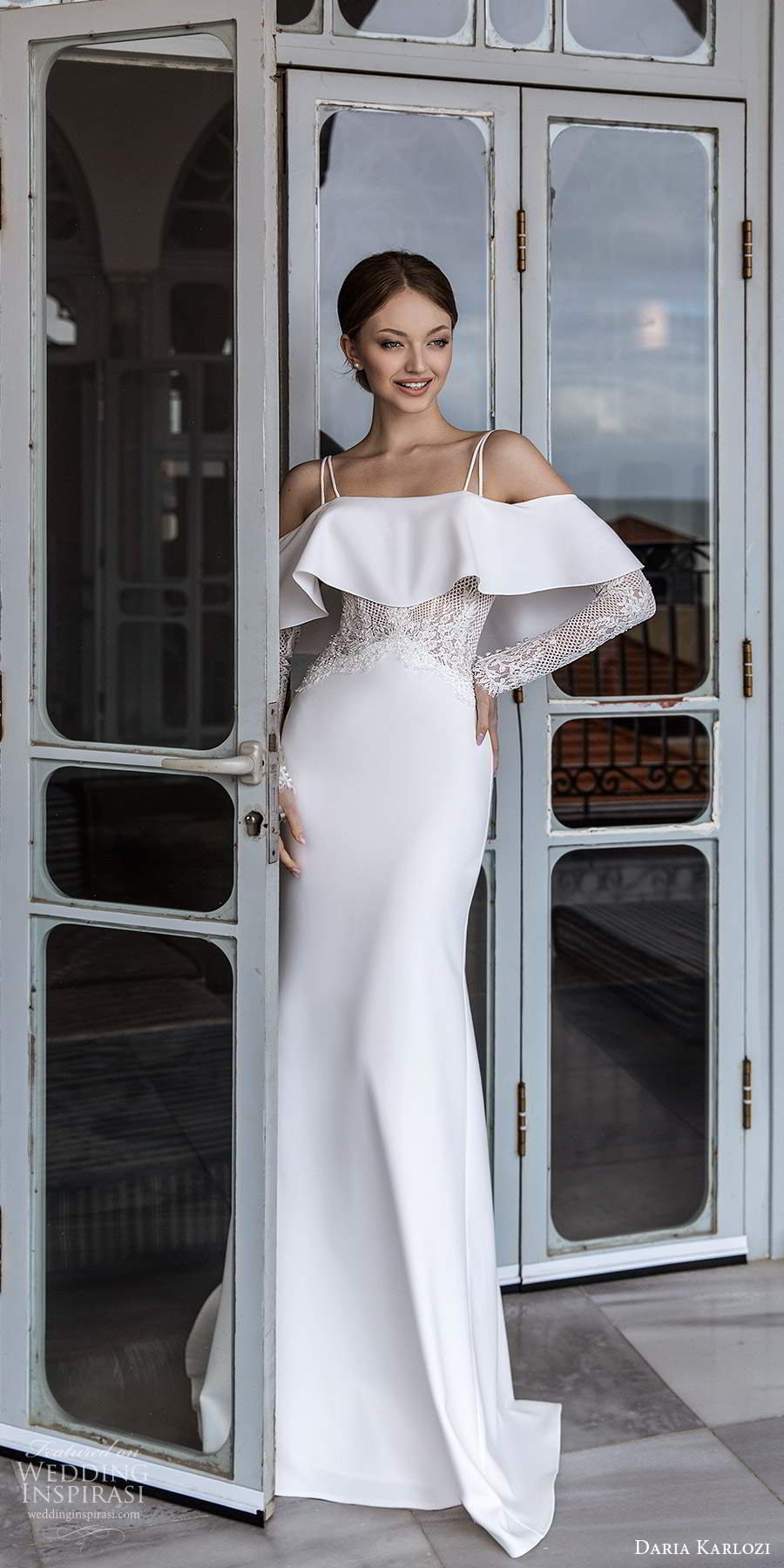 daria karlozi 2021 bridal long sleeves cold shoulder thin straps sheer embellished bodice clean minimalist sheath wedding dress chapel train (6) mv