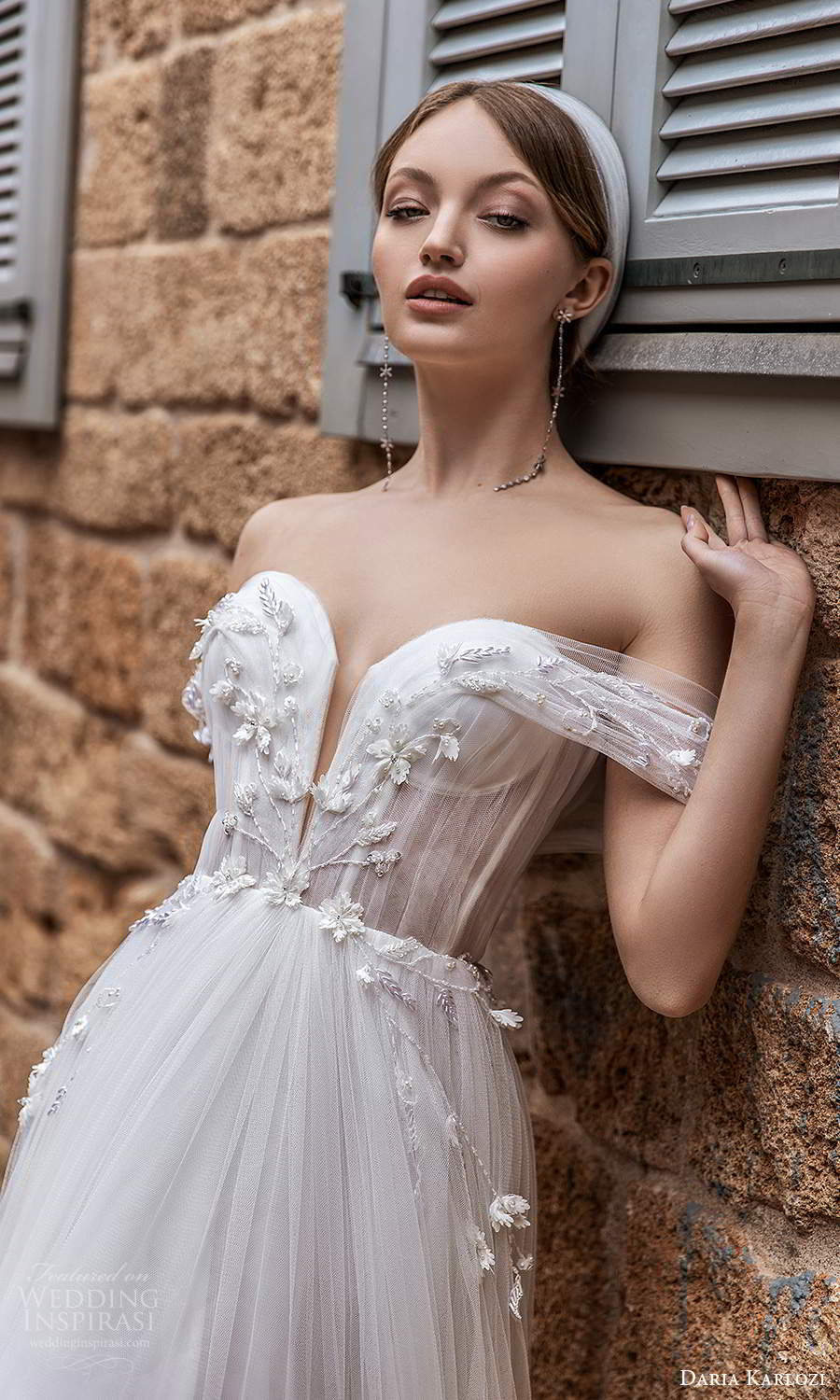 daria karlozi 2021 bridal off shoulder plunging v neckline embellished ruched bodice a line ball gown wedding dress (2) zv