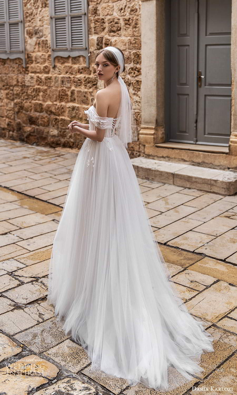 daria karlozi 2021 bridal off shoulder plunging v neckline ruched bodice a line ball gown wedding dress (2) bv