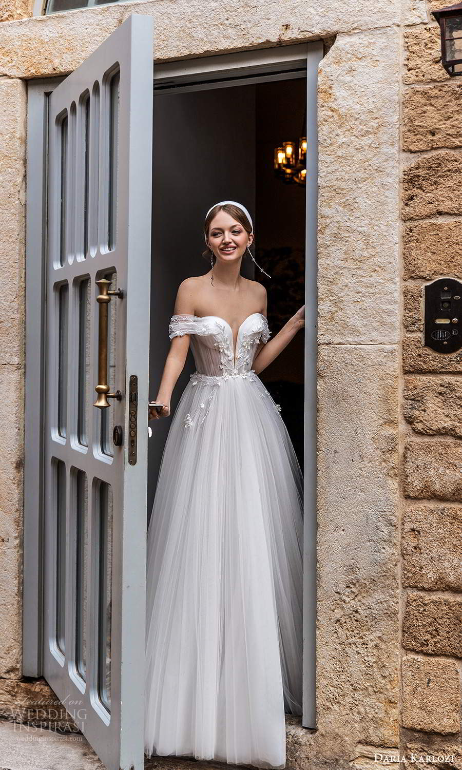 daria karlozi 2021 bridal off shoulder plunging v neckline ruched bodice a line ball gown wedding dress (2) mv