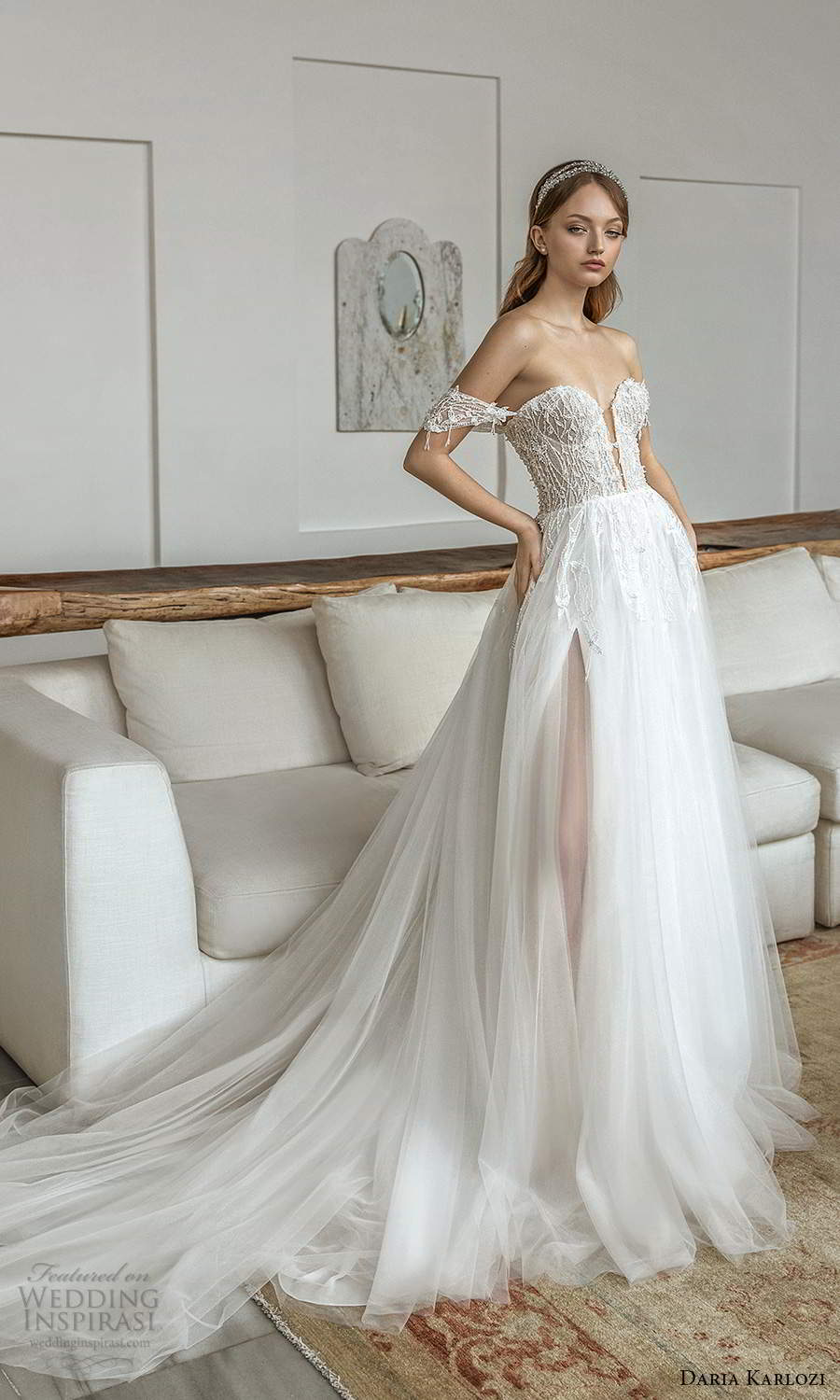 daria karlozi 2021 bridal off shoulder straps plunging sweetheart neckline heavily embellished bodice a line ball gown wedding dress chapel train (12) mv
